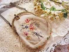 Antique purse with embroidery