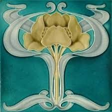 Image result for art nouveau tile fireplace