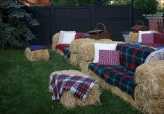 DIY Hay bale couches - Great for an backyard movie night! Love the tartan touches.