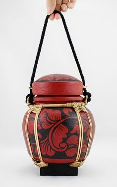 Hand painted rice pot made from Bamboo from Northern Thailand