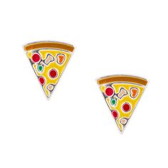 <P>Create delicious style with this pair of stud earrings. Pizza slices with all the yummy toppings add fun to a polished look.</P><UL><LI>Sterling silver<LI>Post back</LI></UL>