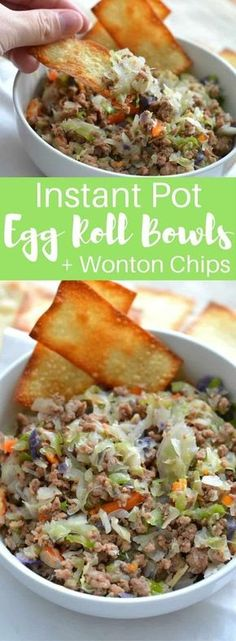 Instant Pot Egg Roll Bowls (+ Wonton Chips) Craving Chinese food, but trying to stick to your low-carb resolution? Instant Pot Egg Roll Bowls are the perfect solution for an easy weekday meal to satisfy that craving without all the guilt! Wonton Chips, Tortilla Chips, Easy Weekday Meals, Weekday Dinner Ideas, Eggroll In A Bowl, Instant Pot Dinner Recipes, Instant Pot Chinese Recipes, Easy Chinese Food Recipes, Instant Pot Asian Recipes