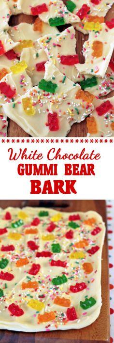 White Chocolate Gummi Bear Bark #ad #sponsored #gummibears #candy