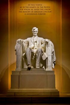 """*LINCOLN MEMORIAL ~ WA,DC Statue of Abraham Lincoln. """"In this temple as in the hearts of the people for whom he saved the Union the memory of Abraham Lincoln is enshrined forever. American Presidents, Us Presidents, American Civil War, American History, Abraham Lincoln Family, Lincoln Memorial, Famous Landmarks, Us History, Monuments"""