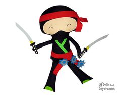 Ninja Sewing Pattern PDF Karate Kid DIY Samurai Doll Martial Arts Toy - includes removable belt, headband, swords and weapons