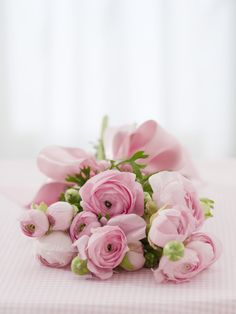 Beautiful pink wedding bouquet of flowers