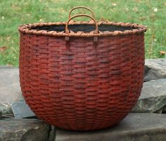 Beautiful red basket by artist & basketmaker Jonathan Kline. via the basketmaker's site, Blackash Baskets
