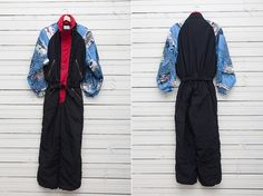 Men Ski Suit / 1980s Black, Red, Blue Skirwear Onepiece Snow Suit by Etirel / Size M / Men Snowboard Clothing by CoverVintage on Etsy