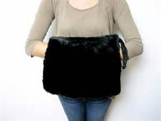 ... 1930s vintage large black fur muff // hand warmer // purse with zipper