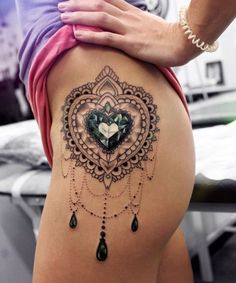 Green Diamond Ornamental Hip Tattoo