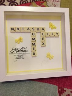 Handmade Mothers day gift - Scrabble pieces on printed cards tock, matted and framed.