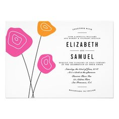 Custom Modern Pink Orange Flowers White Wedding Invite created by pinkpinetree. This invitation design is available on many paper types and is completely custom printed. Addressing Wedding Invitations, Pink Wedding Invitations, Beautiful Wedding Invitations, Floral Wedding Invitations, Custom Invitations, Card Wedding, Invites, Wedding Napkins, Invitation Wording