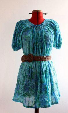 Vintage turquoise dress blue green dress by girlfridaysvintage