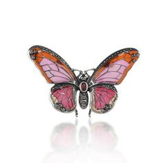 Marcasite, Garnet and Enamel 925 Sterling Silver Butterfly Brooch >>> Check out this great product. (This is an affiliate link) #BroochesandPins