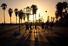 Sunset at Venice Beach Basketball Courts - Los Angeles CA