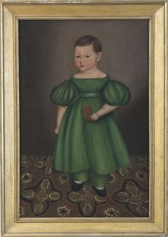 'Child in a green dress standing on a patterned carpet', attributed to Joseph Whiting Stock or follower, American, ca 1835. Northeast Auctions