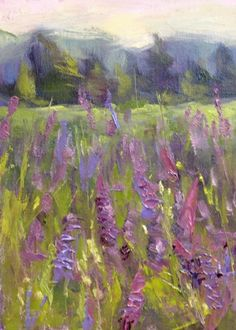 Among the Lupines Summer Meadow, oil painting by artist Karen Margulis