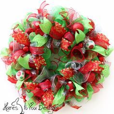 Christmas Wreath, 2163 - Red, Green, Silver Deco Mesh Wreath Decor by HaresToYouDesigns on Etsy https://www.etsy.com/listing/201050699/christmas-wreath-2163-red-green-silver