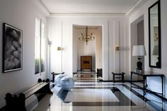 www.designpass.co Designed by Pierre Yovanovitch, classic marble floor entrance