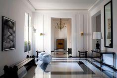 www.designpass.co Designed by Pierre Yovanovitch, classic marble floor entrance