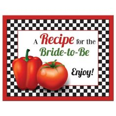 Retro Italian pizzeria recipe card for the bride-to-be. Red pepper, tomato, and black and white check pattern. Also the red, green, and yellow of Italy's flag. Perfect for an Italian themed recipe or kitchen bridal shower. Also works for pasta or pizza theme.