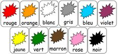 Risultati immagini per les couleurs en français French Language Basics, French Basics, French For Beginners, French Language Lessons, French Lessons, French Tips, French Flashcards, French Worksheets, Learning French For Kids