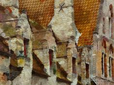 BRICK AND TILE ENDURETH – Centuries of Belgium's weather have imparted a beautiful patina to the brick walls and tile roofs of buildings throughout the charming village of Burgge. Surrounded by this maze of strong walls gives one the feeling of security and a sense of timelessness blended with humbleness realizing so many have passed this way before. Painting by artist Richard Neuman represented by Two Bananas Art. Giclee $21.00 #burgge #europe #brick #travelpainting #impressionism #claytile
