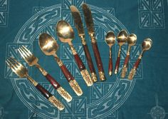 Vintage Thai Teak and Nickel Bronze Flatware Cutlry Set, Budha, Antique Alchemy Vintage Marketplace, Flatware Set, Alchemy, Vintage Kitchen, Jewelry Art, Teak, My Etsy Shop, Bronze, Antiques