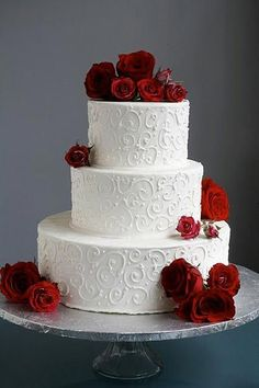 Red Rose Wedding Cake & Fairytale Wedding I Beauty and the Beast Wedding Ideas Wedding Cake Roses, Black Wedding Cakes, Wedding Cakes With Flowers, Elegant Wedding Cakes, Cool Wedding Cakes, Beautiful Wedding Cakes, Wedding Cake Designs, Wedding Cake Toppers, Beautiful Cakes