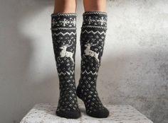Handknit thick wool women knee high long wool socks by WoolSpace - Super knitting Wool Socks, Knitting Socks, Hand Knitting, White Knee High Socks, Norwegian Knitting, Scandinavian Pattern, Comfy Socks, Knit Crochet, Chrochet