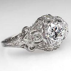 Art Deco Engagement Ring w/ Old Euro Diamond Platinum 1930's - EraGem