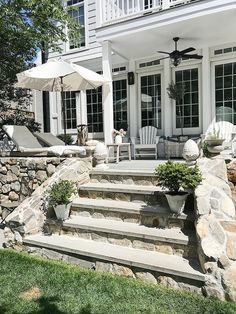 Patio steps with Natural Fieldstone and Bluestone steps We used bluestone for the patio material as it has a classic and timeless look Patio Steps, New England Style, New England Homes, Outdoor Spaces, Outdoor Living, Outdoor Decor, Outdoor Patios, Outdoor Kitchens, Porch Kits