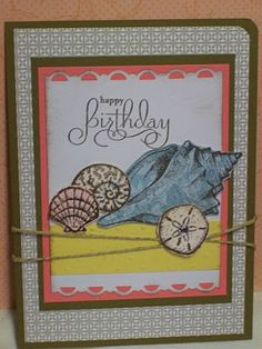 Stipple Shells stamps, Sparkling Summer, Paper is soft suede, coral, saffron, whisper white, turquoise, crushed curry, jersey shore DSP, Prints Pack II, stick on rhinestone, hemp twine, SU border punch, polka dot emboss folder, butterfly sizzlet die, scallop punch.
