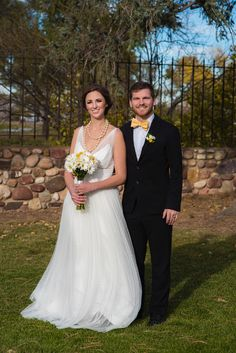 Yellow Wedding Daisies Bride and Grown Wedding Photography Yellow Bow Tie - Yellow Spring Wedding WTOO Wedding Gown Photo by: Modified PhotoGraphics PRESENTED BY WHITE DAISY EVENTS