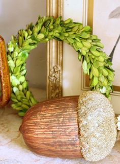 Fall decor- In love with this giant acorn and wreath #NapaValleyHoliday