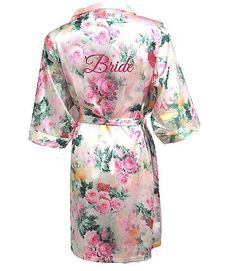 A pastel floral print robe is a pretty bridal shower gift for the bride.