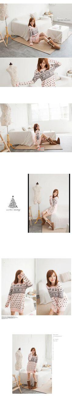 Nordic-Pattern Knit Tunic, Pink , One Size - Tokyo Fashion | YESSTYLE