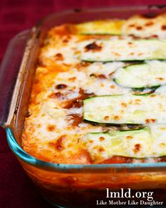 Zucchini Lasagna...Looks good.  Always looking for ways to cook up the zucchini and patty pan squash coming from the garden right now!