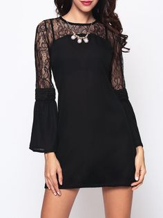 #Fashionmia - #Fashionmia Lace Patchwork Alluring Shift-dress - AdoreWe.com