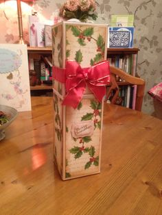 My Christmas wine box made using the Crafters Companion Big Score Board