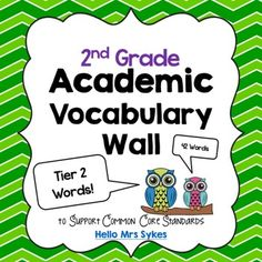 Want to boost the vocabulary your students use when speaking and writing?  An Academic Vocabulary Word Wall is the answer.  This collection of 42 Tier 2 words for 2nd grade refers explicitly to words found throughout the 2nd grade standards in Common Core.