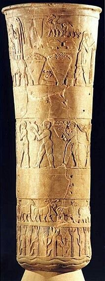 Uruk Vase showing worshippers bringing provisions to the temple of Inanna. [The vase was stolen from the Iraq Museum in 2003, but has since been returned and partially restored.] Uruk ca. 3000 BC