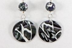 Black and White Abstract design dangle bead earrings - Item #E1021 - Polymer Clay Earrings - pinned by pin4etsy.com