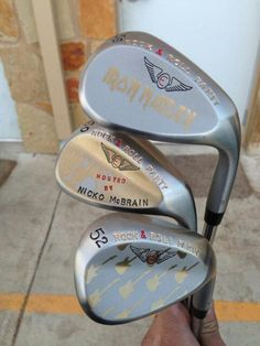 "March 1, 2013: ""ROCK ON...the crazyest looking sticks 4 Nicko's party! #MAIDEN,"" said Nick Faldo (‏@NickFaldo006) about these Edel Golf wedges destined for Iron Maiden drummer Nicko McBrain."
