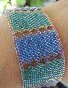 Bracelet, handmade, bracelet with blue and green Miyuki Delica glass seed beads, peyote stich (214).