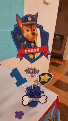 Paw Patrol Centerpieces: Chase Paw Patrol Birthday Theme, Paw Patrol Party, Twin Birthday, 3rd Birthday Parties, Birthday Fun, Paw Patrol Decorations, Oscar Party, Birthday Decorations, Party Cakes