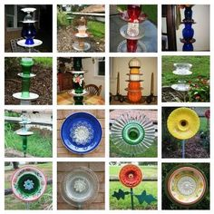 Nell Stelzer's many dish flowers
