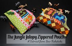 The Jungle Jalopy Zippered Pouch || Sew Fishsticks