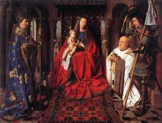 Jan Van Eyck Madonna and Child Enthroned, , Bruges. Read more about the symbolism and interpretation of Madonna and Child Enthroned by Jan Van Eyck. Renaissance Kunst, Renaissance Artists, Renaissance Paintings, Bruges, Madonna Und Kind, Madonna And Child, Jan Van Eyck Paintings, Robert Campin, Ghent Altarpiece
