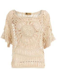 Beige Short Sleeve Crochet Top
